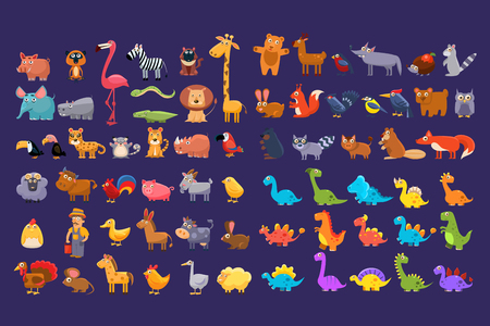 Cartoon collection of funny animals in flat style. Colorful graphic elements for children s book, education card, mobile game or sticker. Wildlife concept. Vector design isolated on white background.