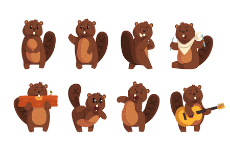 Cute funny character beaver in different actions set of cartoon vector Illustrations isolated on a white background. Illusztráció