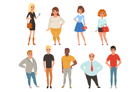 Cartoon collection of young and adult people in different poses. Men and women characters wearing casual clothes. Full-length portraits in flat style. Colorful vector illustration isolated on white.