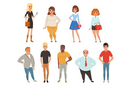 Colección de dibujos animados de jóvenes y adultos en diferentes poses. Personajes de hombres y mujeres con ropa casual. Retratos de cuerpo entero en estilo plano. Ilustración de vector colorido aislado en blanco.