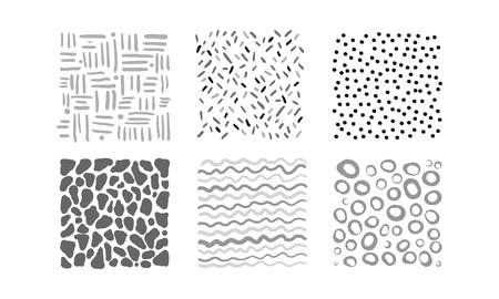 Cute abstract irregular patterns set, black, gray, white textures vector Illustration isolated on a white background.