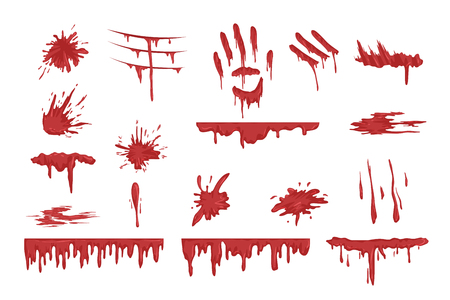 Blood spatters set, dripping blood and stains vector Illustrations on a white background