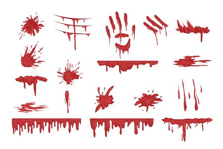 Jeu de éclaboussures de sang, gouttes de sang et de taches vector Illustrations sur fond blanc