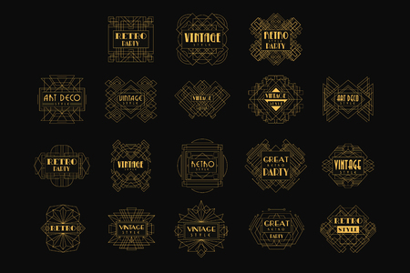 Decorative golden set in vintage style. Elegant retro emblems in geometric shape. Linear vector for business card, fashion boutique, party or wedding invitation