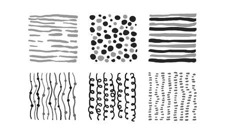 Cute monochrome abstract patterns set, black, gray, white irregular design elements vector Illustration isolated on a white background. Illusztráció