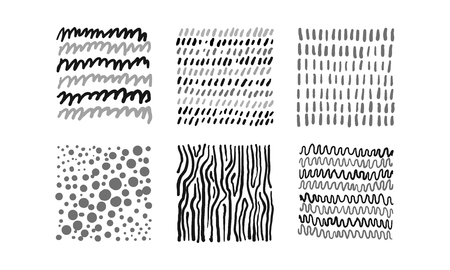 Cute abstract patterns set, black, gray, white irregular design elements vector Illustration isolated on a white background. Illusztráció