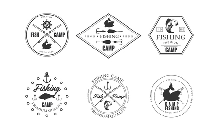 Fishing camp, wildlife, travel, adventure retro labels vector Illustration on a white background