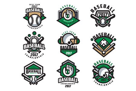 Collection of colorful baseball. Labels with balls, gloves, bats and protective helmets. Linear sports emblems. Flat vector design for team badge