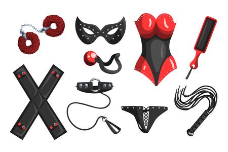 Fetisch-Sachen für Rollenspiele und Sett von Vektor-Illustrationen auf weißem Hintergrund
