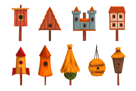 Birdhouse set, bird houses, nesting boxes cartoon vector Illustrations Ilustração