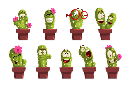 Potted cactus characters sett, funny cacti in flower pot with different emotions vector Illustrations isolated on a white background.  イラスト・ベクター素材