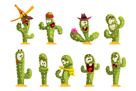 Cactus characters sett, funny cacti with different emotions vector Illustrations isolated on a white background.