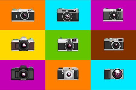 Camera sett, retro photo cameras on colored backgrounds vector Illustrations, flat style