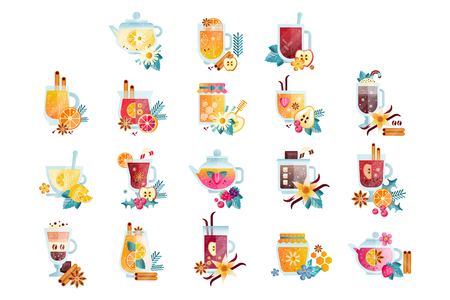 Hot drinks with fruits, berries, spices and herbs set, vitamin healthy drinks vector Illustrations on a white background