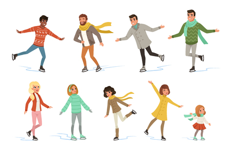 Ice skating people set, winter activities vector Illustrations isolated on a white background. Ilustração