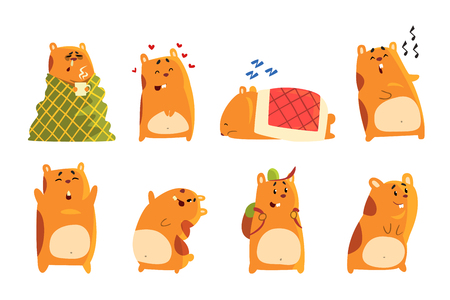 Cute cartoon hamster characters set, funny animal showing various actions and emotions vector Illustrations on a white background Illustration