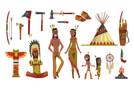 Native american indians and traditional clothes set, weapons and cultural symbols vector Illustrations isolated on a white background Stock Illustratie