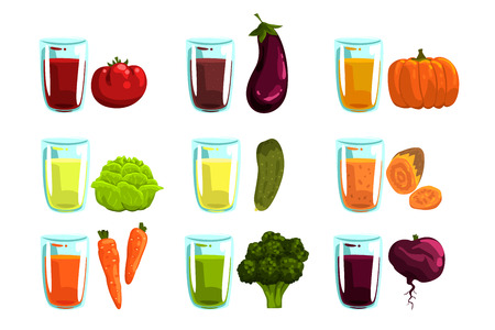 Vegetable juices set, carrot, broccoli, , eggplant, zucchini, tomato, cucumber, beetroot and pumpkin drinks for a healthy diet vector Illustrations isolated on a white background.