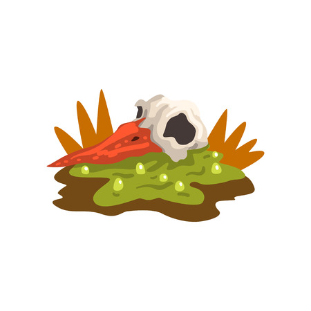Toxic waste swamp and dead bird, ecological disaster, environmental pollution concept, vector Illustration isolated on a white background.