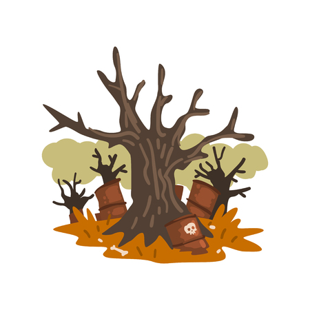 Dead trees and rusty barrels of nuclear waste, ecological disaster, environmental pollution concept, vector Illustration isolated on a white background.