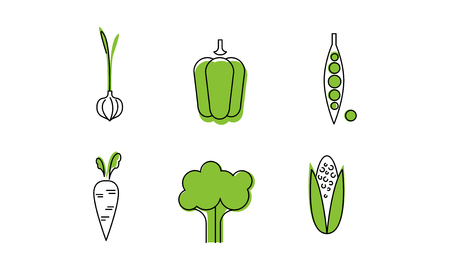 Fresh vegetables line icons set, garlic, sweet pepper, green peas pod, broccoli, corncob, carrot, organic healthy food vector Illustration isolated on a white background. Çizim