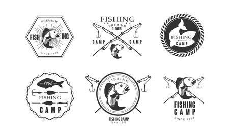 Fishing premium camp since 1965 design, wildlife, travel, adventure retro labels vector Illustration on a white background Иллюстрация