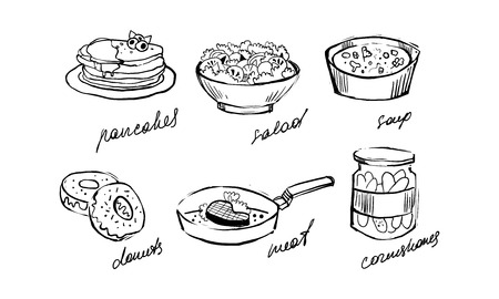 Traditional food set, pancakes, salad, soup, donuts, meat, cornichons hand drawn vector Illustration on a white background Ilustracja