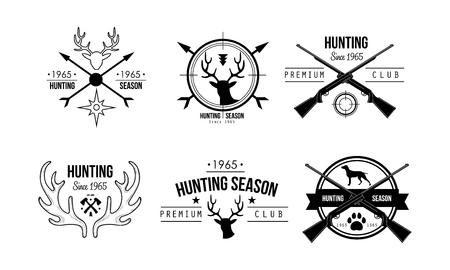 Diseño de club premium de temporada de caza, vida silvestre, caza, viajes, insignias retro de aventura vector ilustración sobre un fondo blanco