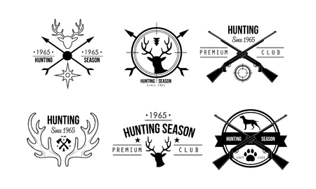 Hunting season premium club design, wildlife, hunting, travel, adventure retro badges vector Illustration on a white background