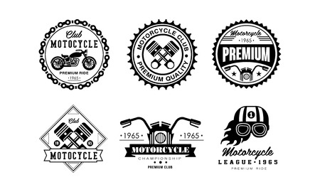 Motorcycle club set, retro badges for biker club, auto parts store, repair service vector Illustration on a white background