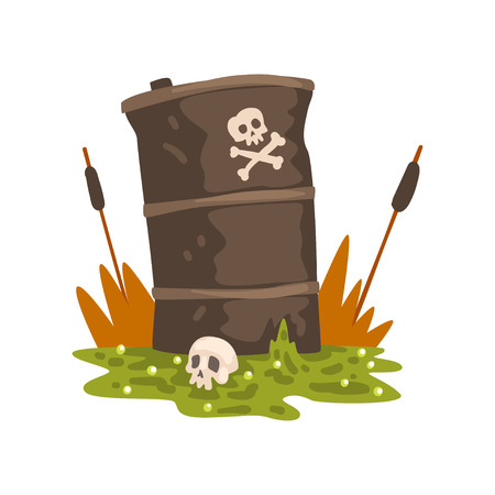 Toxic waste barrel and human skull, ecological problem, environmental pollution concept, vector Illustration isolated on a white background.