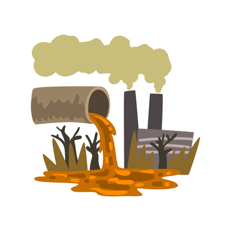 Pipe pouring out industrial waste, ecological disaster, environmental pollution concept, vector Illustration isolated on a white background.