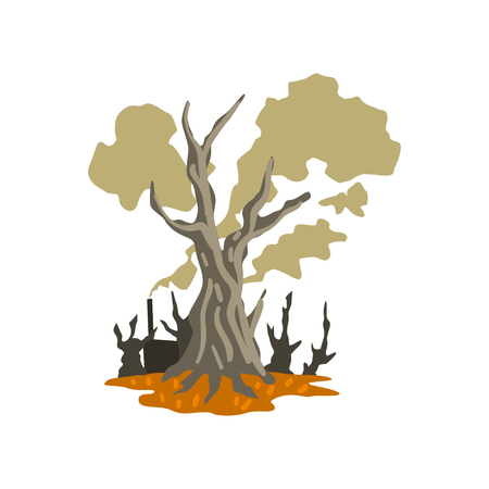 Dead trees and toxic waste dump, ecological disaster, environmental pollution concept, vector Illustration on a white background Illustration