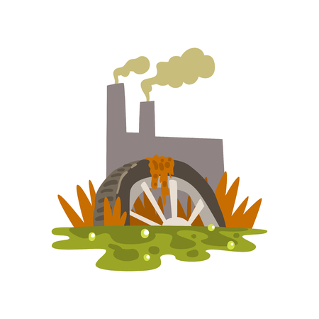Nature pollution factory, toxic waste dump, ecological problem, environmental pollution concept, vector Illustration isolated on a white background.
