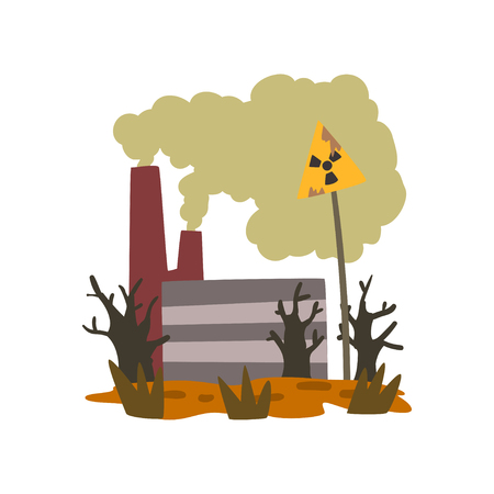 Nature pollution factory, danger zone with warning sign, ecological problem, environmental pollution concept, vector Illustration isolated on a white background.