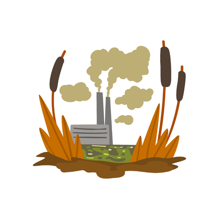 Nature pollution factory, toxic waste swamp, ecological disastrous problem, environmental pollution concept, vector Illustration isolated on a white background.