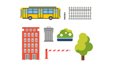 City street elements set, urban infrastructure objects vector Illustration isolated on a white background.