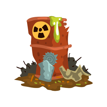 Rusty flowing barrel of nuclear waste, toxic waste dump, ecological disaster, environmental pollution concept, vector Illustration isolated on a white background. Ilustração