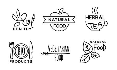 Conjunto lineal de alimentos saludables, naturales, vegetarianos, etiquetas de alimentos veganos orgánicos saludables, restaurante, bolsas de café, productos bio vector ilustración sobre un fondo blanco