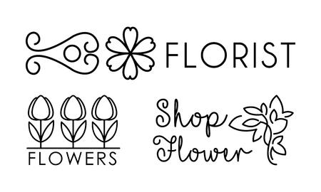Flower shop linear, floral design elements for branding identity, florist salon vector Illustration on a white background