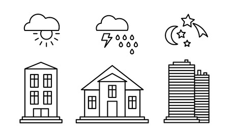 City buildings and with weather icons, sunny, rainy weather, day, night linear vector Illustration isolated on a white background.