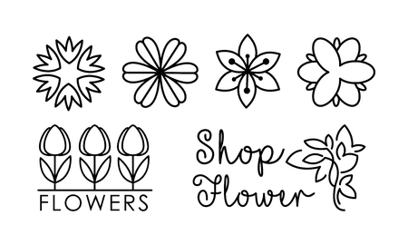 Flower shop linear set, floral design elements can be used for branding identity, florist salon vector Illustration on a white background