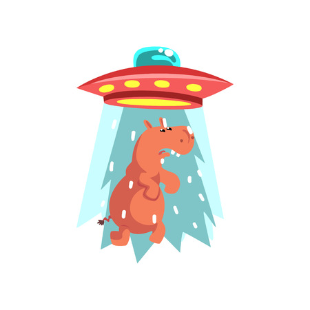 Alien UFO spaceship taking away hippo, flying saucer taking animal using light beam vector Illustration isolated on a white background. Ilustração