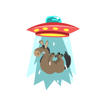 Alien UFO spaceship taking away donkey, flying saucer taking animal using light beam vector Illustration isolated on a white background.
