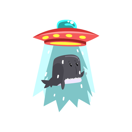 Alien UFO spaceship taking away whale, flying saucer taking sea animal using light beam vector Illustration isolated on a white background.