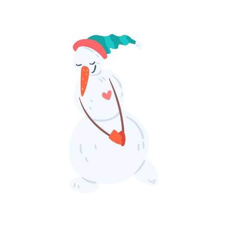 Cute funny snowman character inn a hat and mittens, Christmas and New Year holidays decoration element vector Illustration isolated on a white background.
