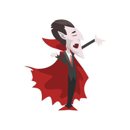 Count Dracula, vampire cartoon character wearing in a black suit and red cape vector Illustration on a white background Illustration