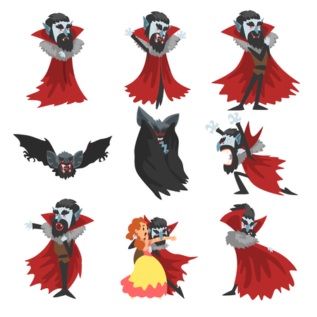 Creepy Count Dracula set, vampire cartoon character in different situations vector Illustration on a white background