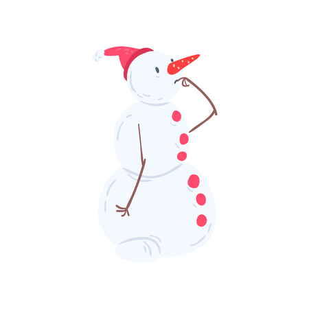 Cute thoughtful snowman character, Christmas and New Year holidays decoration element vector Illustration isolated on a white background.