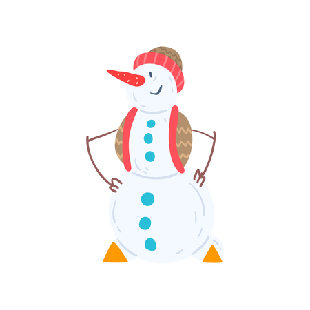 Cheerful snowman character in a hat and vest, Christmas and New Year holidays decoration element vector Illustration isolated on a white background.